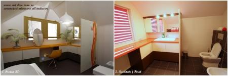 <h5>Baie proiect 3D vs. realitate</h5><p>Proiectul prevede masuta de masaj in baie, in dreptul geamului pentru o vizibilitate mai buna - realizat in detaliu. </p>