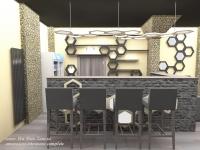 <h5>Bar</h5><p>Piatra decorativa existenta este pusa in valoare, fiind revopsita si aplicata si pe fatada barului de la intrare</p>