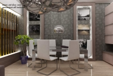 <h5>Dining design 3D</h5><p>Dining cu paravan decorativ din plexiglas cu lumina pe led in baza. </p>