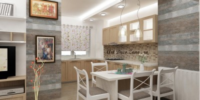 Design shabby chic, bucatarie si living