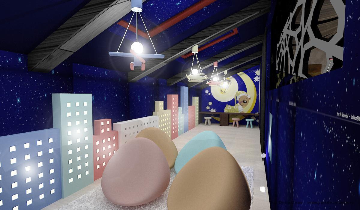 Mansarda cu camera de joaca pentru copii