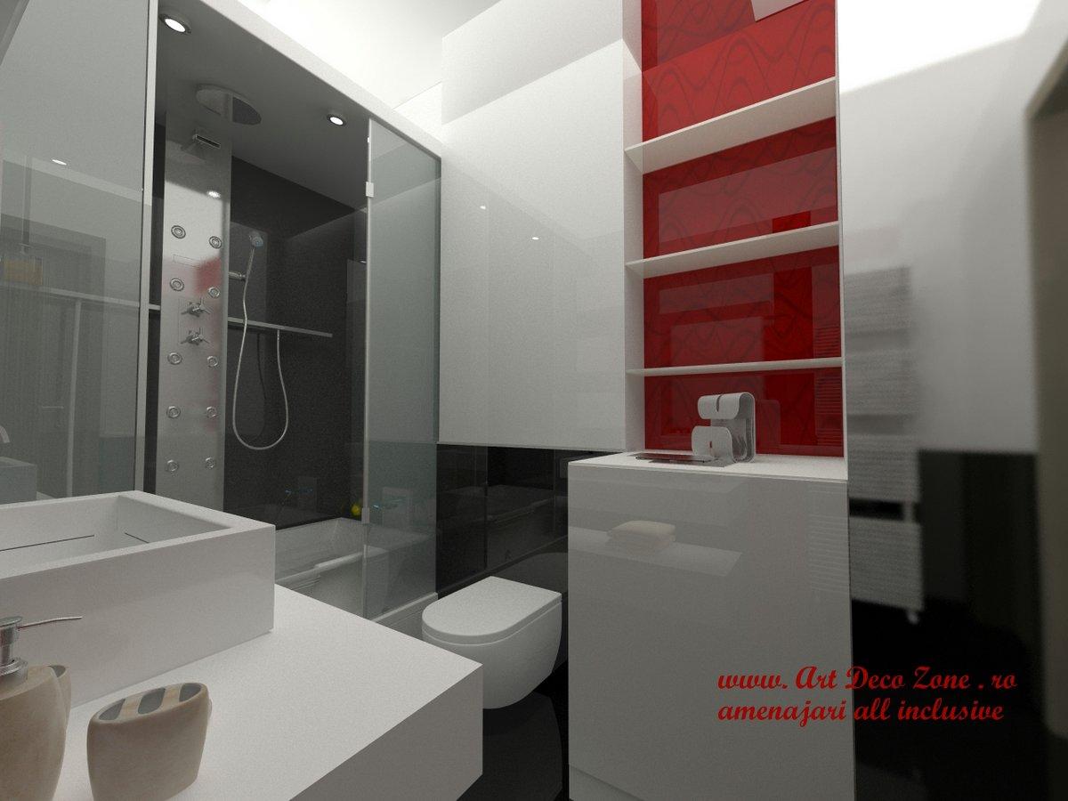 Design garsoniera recompartimentata art deco zone knox for Amenajare baie garsoniera