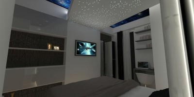 Dormitor cu tavan extensibil si lumina led