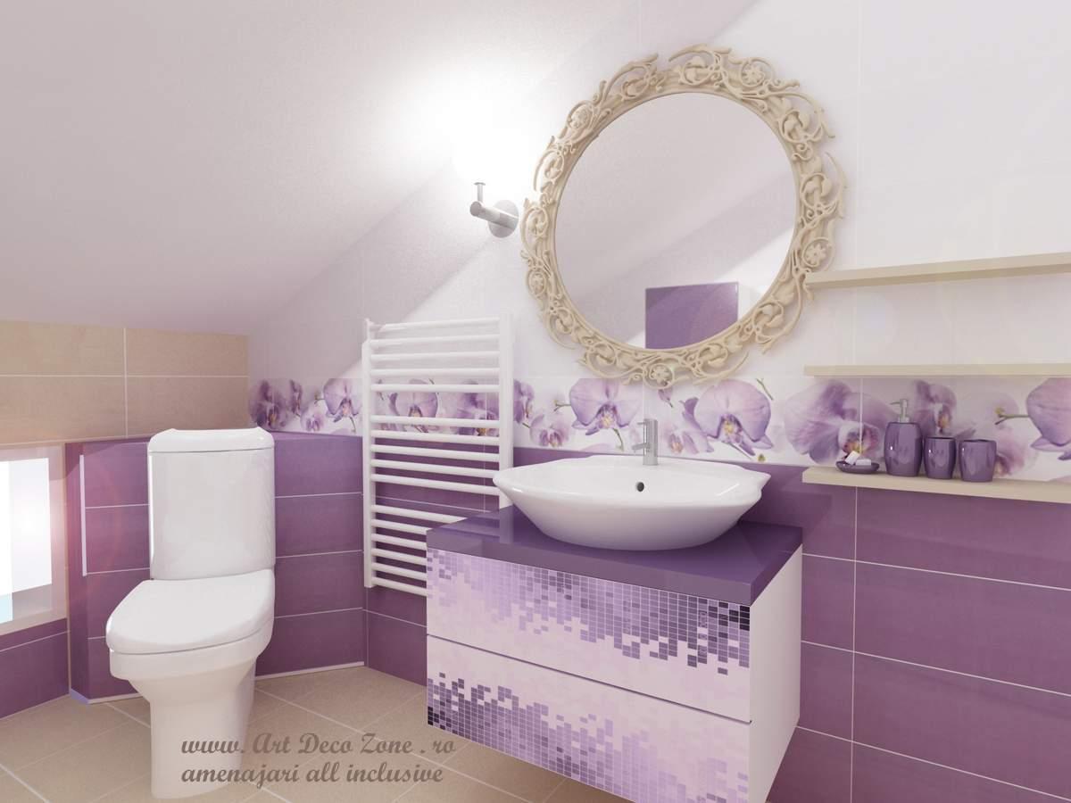 oglinda cu arabescuri pentru o baie romantica cu mobila printata