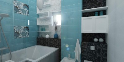faianta turcoaz / bleu cu decoruri din flori pentru baie cu stil
