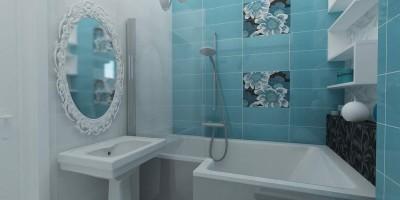baie superba in tonuri de turcoaz si bleu cu decoruri florale