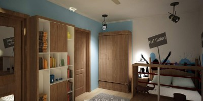 dormitor de baiat in tonuri de bleu