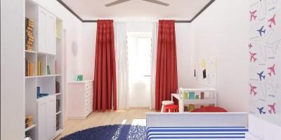 dormitor de baietel cu nuante de rosu si albastru