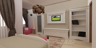 dormitor clasic cu mobilier alb