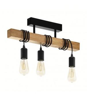 lampa lemn si metal - vintage industrial