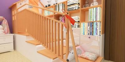 Dormitor de fetita cu casuta din PAL