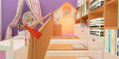 Design interior camera fetita cu casuta pentru joaca