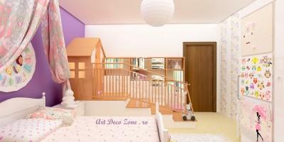 Dormitor de fetita cu casuta din mobila la comanda