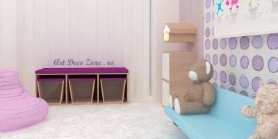 Camera fetita in living, amenajari pastelate