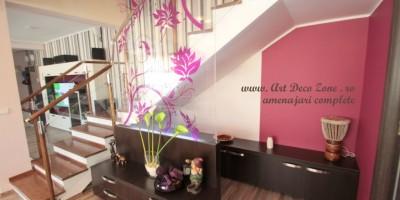 Paravan de plexiglas cu flori transparente mov