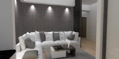 Lumina directa cu spoturi la canapea
