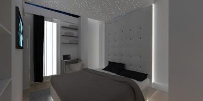 Pat tapitat modern in dormitor avantgardist