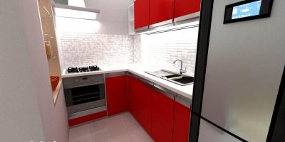 Design interior bucatarie rosie