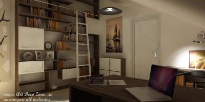 design birou la mansarda, mobilier la comanda