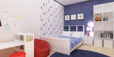 tema alb albastru si tapet aviator pentru dormitor de baietel